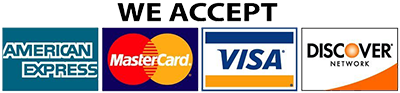 We accept AmEx, Visa, Mastercard